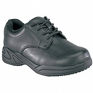 "3""H Women's Work Shoes, Plain Toe Type, Polyurethane Upper Material, Black, Size 11-1/2"