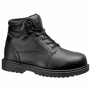 "6""H Men's Work Boots, Steel Toe Type, Leather Upper Material, Black, Size 8W"
