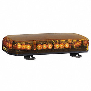 Amber Low Profile Mini Lightbar, LED Lamp Type, Permanent Mounting, Number of Heads: 10