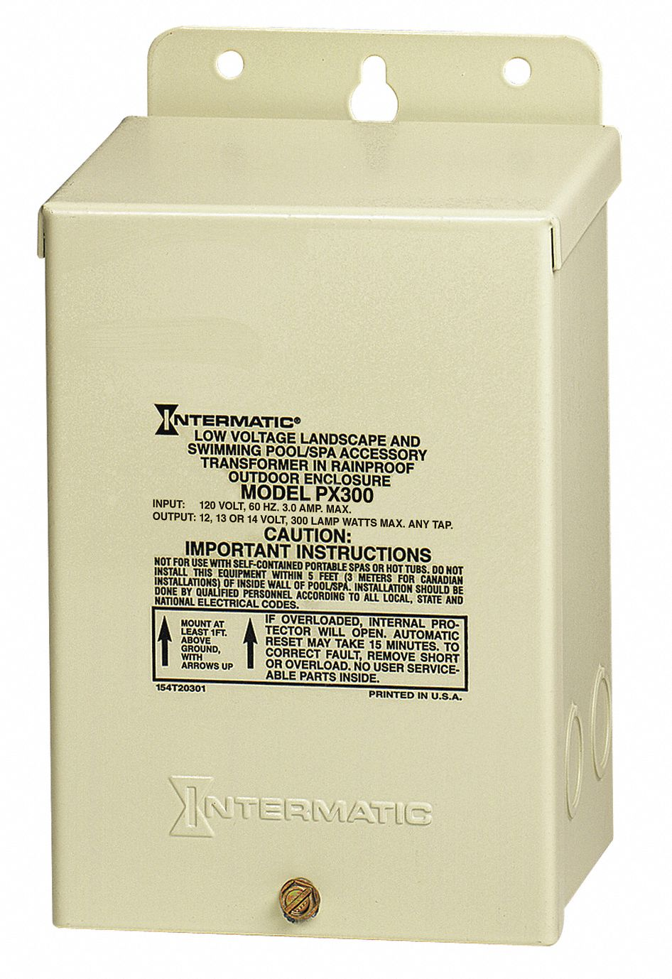 Intermatic Transformer 300 W Max Wattage Sand Electrostatically Painted Steel 120v Ac Input Voltage 13k522 Px300 Grainger