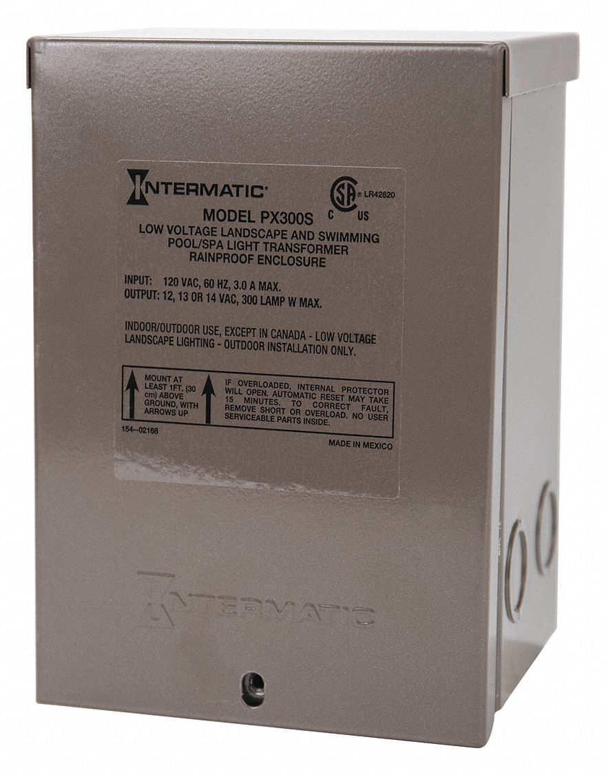 Intermatic Transformer 300 W Max Wattage Brown Stainless Steel 120v Ac Input Voltage 13k523 Px300s Grainger