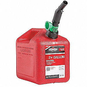Gas Can,2 Gal.,Red,Self Vent,Poly
