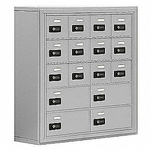 Aluminum Cell Phone Locker, (4) Wide, (5) Tier, Openings: 16, Lock: Resettable Combination