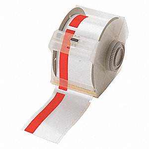 "Indoor/Outdoor Vinyl Film Label Tape Cartridge, White/Red, 3""W x 100 ft."