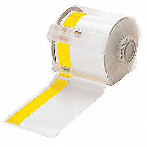 "Indoor/Outdoor Vinyl Film Label Tape Cartridge, White/Yellow, 4""W x 100 ft."