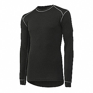 Crewneck Thermo Undershirt, 100% Polypropylene, Black, L, 1 EA
