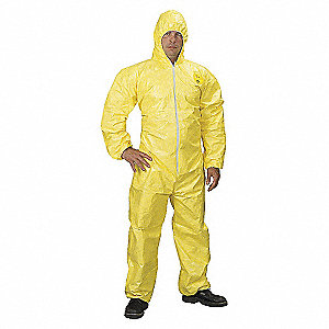 COVERALL,TYCHEM 2000,HOODED,BOUND,LG