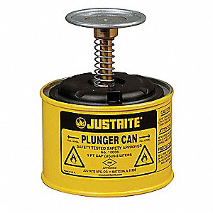Yellow Plunger Can, Steel, 1 pt. Capacity, Dasher Plate Dia. 2-3/4""
