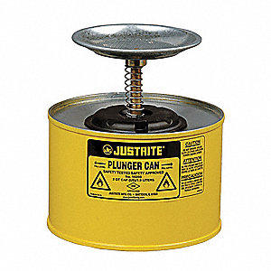 Plunger Can, 1/2 gal., Steel, Yellow, 5""
