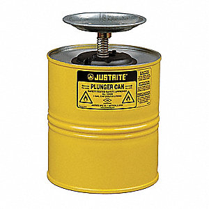 Yellow Plunger Can, Steel, 1 gal. Capacity, Dasher Plate Dia. 5""