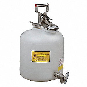 Safety Disposal Can, 5 gal., Corrosives, Flammables, Polyethylene, White