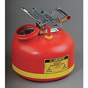 Safety Disposal Can, 2 gal., Corrosives, Flammables, Polyethylene, Red