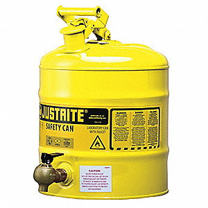 5 gal. Type I Safety Can, Used For Diesel, Yellow&#x3b; Includes Bottom Faucet
