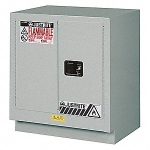 "30"" x 21-5/8"" x 35-3/4"" Steel Corrosive Safety Cabinet, Silver"