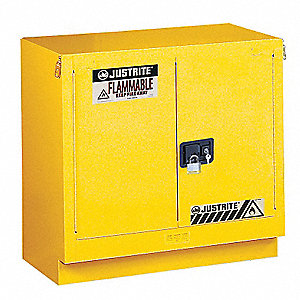 "36"" x 21-5/8"" x 35-3/4"" Galvanized Steel Flammable Liquid Safety Cabinet with Self-Closing Doors, Ye"