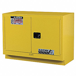 "48"" x 21-5/8"" x 35-3/4"" Galvanized Steel Flammable Liquid Safety Cabinet with Manual Doors, Yellow"