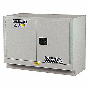 "48"" x 21-5/8"" x 35-3/4"" Steel Corrosive Safety Cabinet, Silver"