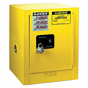 "17"" x 17"" x 22"" Galvanized Steel Flammable Liquid Safety Cabinet with Self-Closing Doors, Yellow"