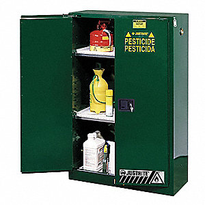 "Pesticide Safety Cabinet, Self-Closing Door Type, 45 gal. Capacity, 65"" Height, 43"" Width, 18"" Depth"