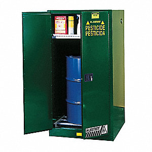 "Pesticide Safety Cabinet, Manual Door Type, 55 gal. Capacity, 65"" Height, 34"" Width, 34"" Depth"