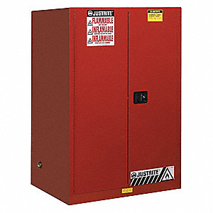 "43"" x 34"" x 65"" Galvanized Steel Flammable Liquid Safety Cabinet with Self-Closing Doors, Red"
