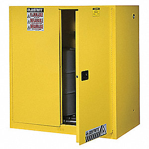 "43"" x 34"" x 65"" Galvanized Steel Vertical Drum Safety Cabinet with Self-Closing Doors, Yellow"