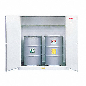 "59"" x 34"" x 65"" Galvanized Steel Vertical Drum Safety Cabinet with Manual Doors, White"