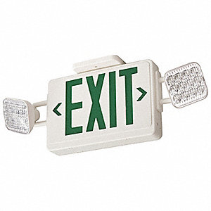 Exit Sign w/Emergency Lights,3.2W,Grn