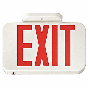 2 Face LED Exit Sign, White Plastic Housing, Red Letter Color