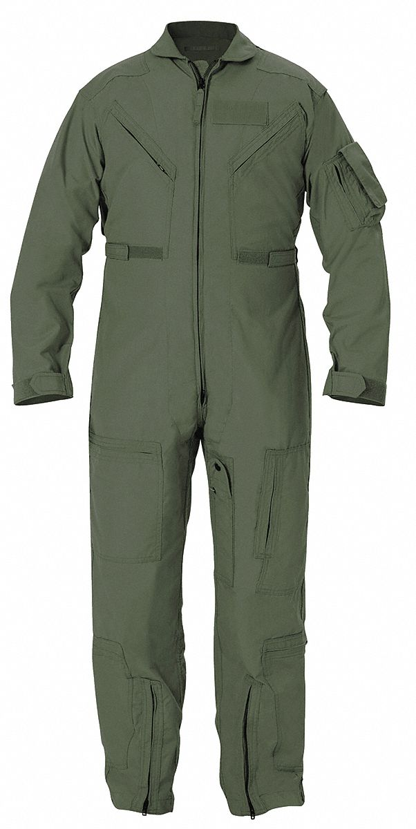 Flight Suit,  30 3/4 in Inseam,  Fits Chest Size 43 in to 44 in,  Freedom Green