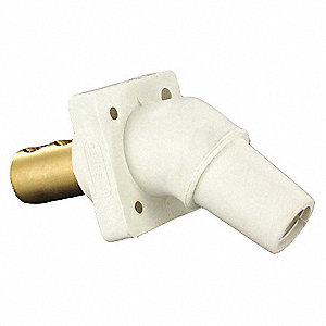 3R, 4X, 12 Taper Nose Angled Receptacle, Female, White