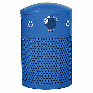 40 gal. Blue Stationary Recycling Container, Dome Top