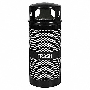 "34 gal. Round Open Top Trash Can, 44""H, Black"