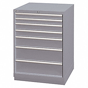 "Stationary Counter Height Modular Drawer Cabinet, 7 Drawers, 28-1/4""W x 28-1/2""D x 41-3/4""H"