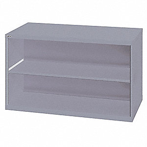 "Base Cabinet, Open Face Cabinet Doors, 56-1/2""W x 28-1/2""D x 33-1/2""H, 2 Shelves, Light Gray"