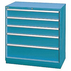 "Stationary Counter Height Modular Drawer Cabinet, 5 Drawers, 40-1/4""W x 22-1/2""D x 41-3/4""H"