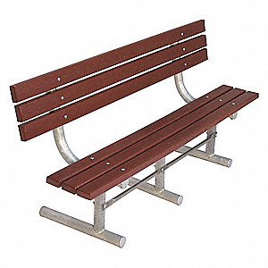 Outdoor Bench,72 in. L,Brwn,RCYLD PLSTC