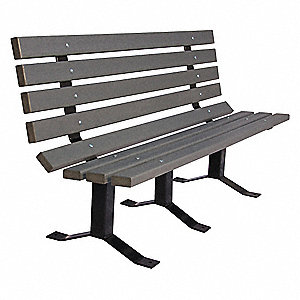 Outdoor Bench,96 in. L,Gray,RCYCLD PLSTC