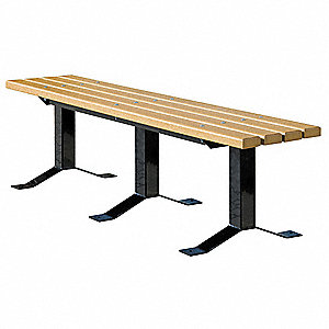 Outdoor Bench, 96 in., Woodtne, RCYLD PLSTC