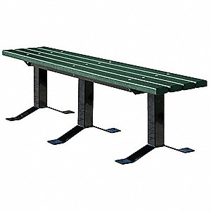 Outdoor Bench,96 in. L,Grn,Rcycld