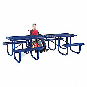 "70""D x 120""W Rectangle Expanded Metal ADA Shelter Table, Blue"
