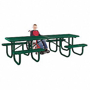 "70""D x 120""W Rectangle Expanded Metal ADA Shelter Table, Green"