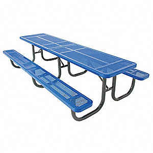 "70""D x 144""W Rectangle Perforated Metal Shelter Table, Blue"
