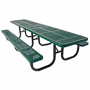"70""D x 144""W Rectangle Perforated Metal ADA Shelter Table, Green"