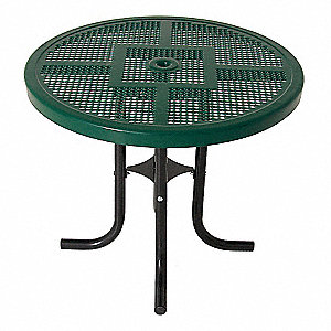 "Picnic Table, 36"" Dia.,Green"