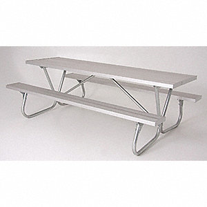 "68""D x 96""W Rectangle Aluminum Picnic Table, Silver"