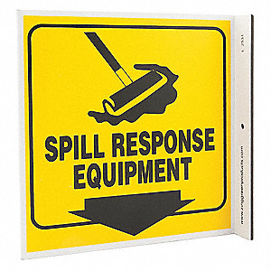 "Spill Station Sign,7"" x 7"",Plastic"