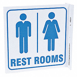 Restroom Sign,7 x 7In,BL/WHT,English
