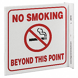 No Smoking Sign,7 x 7In,R and BK/WHT,ENG