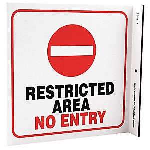 No Entry Sign,7 x 7In,R and BK/WHT,ENG